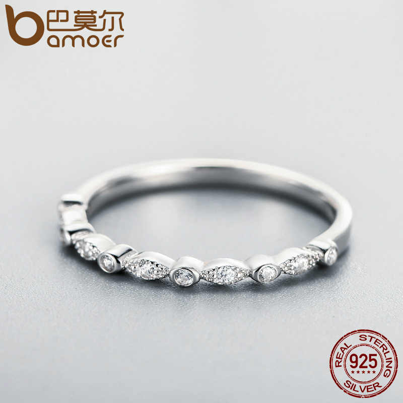 BAMOER แท้ 925 เงินสเตอร์ลิงพราว AAA Zirconia แหวนสำหรับผู้หญิงงานแต่งงานเครื่องประดับของขวัญแฟน SCR084