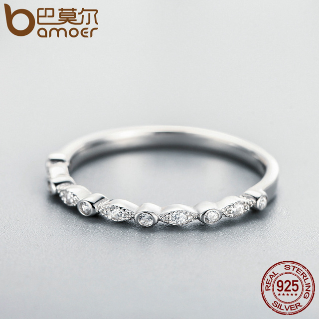 BAMOER Authentic 925 Sterling Silver Dazzling AAA Zirconia Stackable Ring for Women Wedding Jewelry Girlfriend Gift SCR084