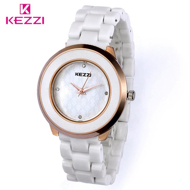 KEZZI Marca Hot Sale Watch Full Cristal de Quartzo Moda relógio de Pulso Das Mulheres Relógios de Cerâmica Para As Mulheres & Homens/Marca Homem da mala Relógio de cerâmica
