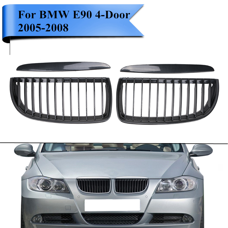 Front Grill for BMW E90 3 Series 318i 320i 323i 328i 335i 4-Door 2005 2006 2007 2008 L+R Kidney Grille Car Styling #PDK653 3 series carbon front bumper racing grill grills for bmw f30 f31 standard sport 12 16 320i 325i 330i 340i non m3 style car cover