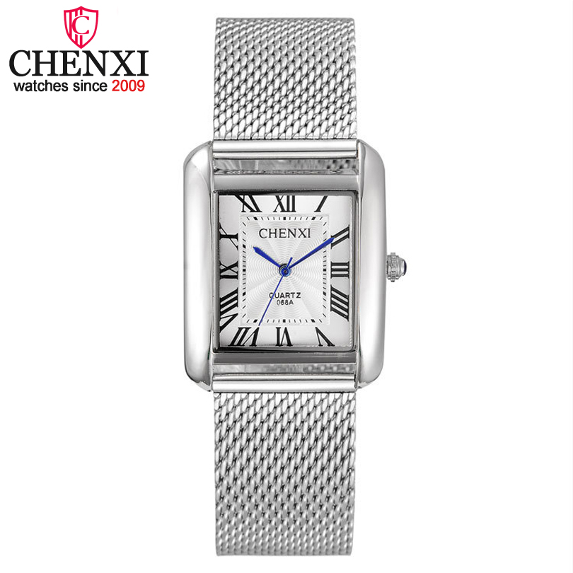 CHENX Mens Watches Top Brand Luxury Silver Square Dial Quartz Watch Stainless Steel Mesh Straps Male Clock Men's Business Watch chenxi mens watches top brand luxury silver case stainless steel quartz wristwatch original male watch for business pengnatate