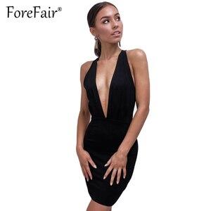 Женское облегающее Клубное платье Forefair, черное облегающее мини-платье с глубоким v-образным вырезом и открытой спиной, лето 2018