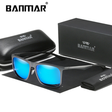 BANMAR New Design Aluminum Magnesium Sunglasses Men Polarized Square Driving Sun Glasses Male Eyewear Accessories For Men 8014 banmar aluminum magnesium men sunglasses polarized sports driving goggles sunglass fishing uv400 square sun glasses for men