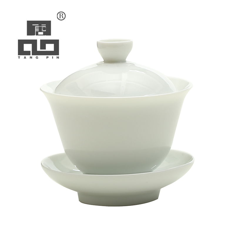 TANGPIN White Ceramic Gaiwan Teacup Teapot Porcelain Chinese Kung Fu Tea Set