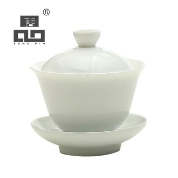 TANGPIN white ceramic gaiwan teacup teapot porcelain chinese kung fu tea set tangpin coffee and tea tool copper tea strainers handmade copper tea filters kung fu tea accessories sets