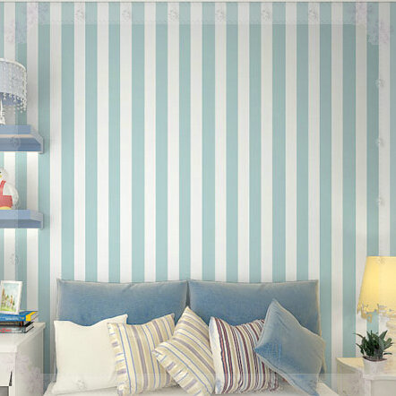 Modern Classic Sky Blue And White Stripe Wallpaper Roll Home Decor
