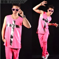 2015 nuevos hombres de moda cruz especular neón hiphop rosa discoteca chaleco ropa hombre traje / L-XL envío gratis