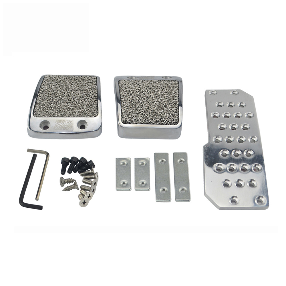 GLF Mugen Silver Car Pedals Fuel Brake Foot Rest For Honda Civic AT Automatic 07