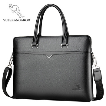 YUESKANGAROO 2019 Brand Business Men's Briefcase High Quality Totes Leather Men Laptop Handbags Messenger Bags For Male HA060 1