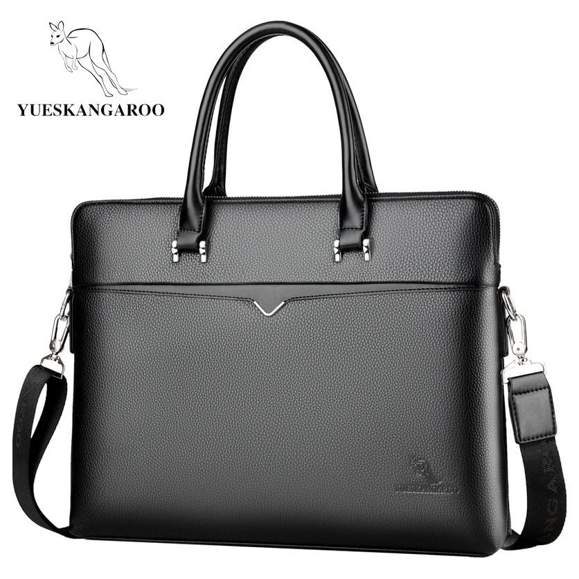 YUESKANGAROO 2019 Brand Business Men's Briefcase High Quality Totes Leather Men Laptop Handbags Messenger Bags For Male HA060