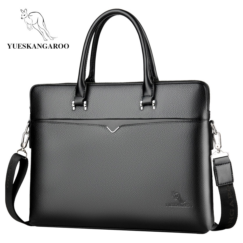 YUESKANGAROO 2019 Brand Business Men's Briefcase High Quality Totes Leather Men Laptop Handbags Messenger Bags For Male HA060