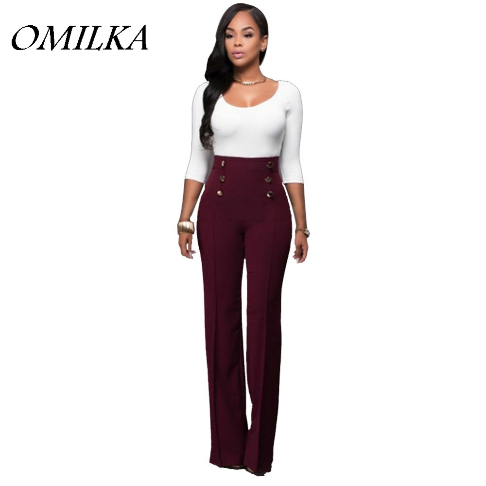 New 2016 Hot Autumn Winter Women High Waist Wide Leg Pant Sexy Black Wine Red White Elastic Pencil Pantalon Femme Trousers S-XL