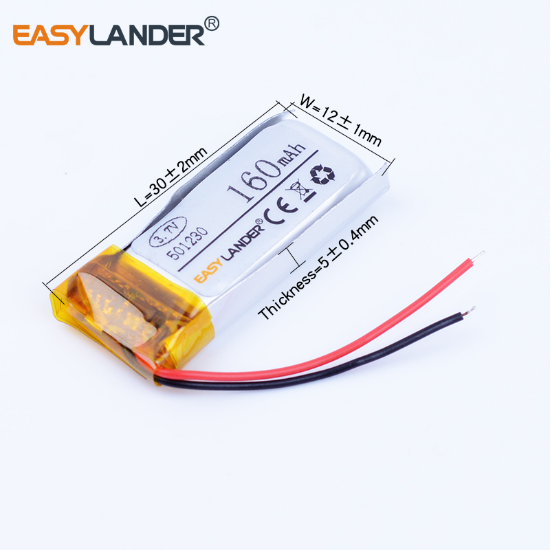 501230 3.7V 160mAh Rechargeable Lithium Polymer Battery For Bluetooth Headset Mouse Bracelet Wrist Watch 051230 Smart bracelet