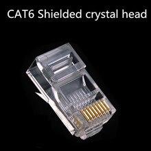 10 PC CAT6 RJ45 Stecker Modular Stecker für Computer UTP Ethernet Kabel Gold Überzogene Gigabit Netzwerk Crimp Geschirmt Kristall Kopf