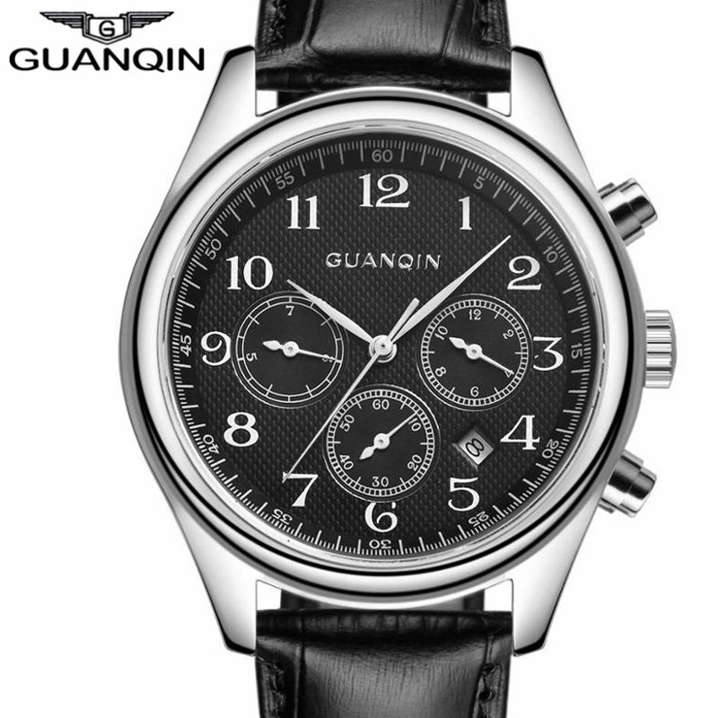 LUXURY GUANQIN Top Brand Men Automatic Self-Wind Date Watch Men's Fashion Casual Leather Mechanical Wristwatch relogio masculino fashion sewor men luxury brand auto date leather casual watch automatic mechanical wristwatch gift box relogio releges 2016 new