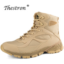 Thestron Anti-Slip Man Hiking Shoes Autumn Winter Men Military Boots Lace Up Tactical Shoe Black Sand Color Outdoor Camping Boot