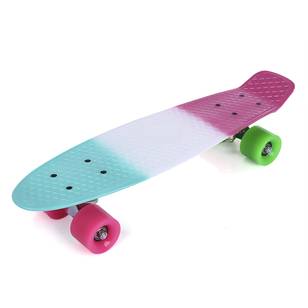 22 inch Colorful Four wheel Street Fish Long Skateboard Plastic 100kg Load Skate Board WIT with PU wheel 3 Colors