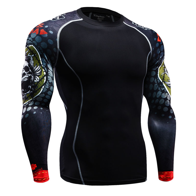 Mens Compression Shirts Bodybuilding Skin Tight Long Sleeves Jerseys Clothings MMA Crossfit Exercise Workout font b