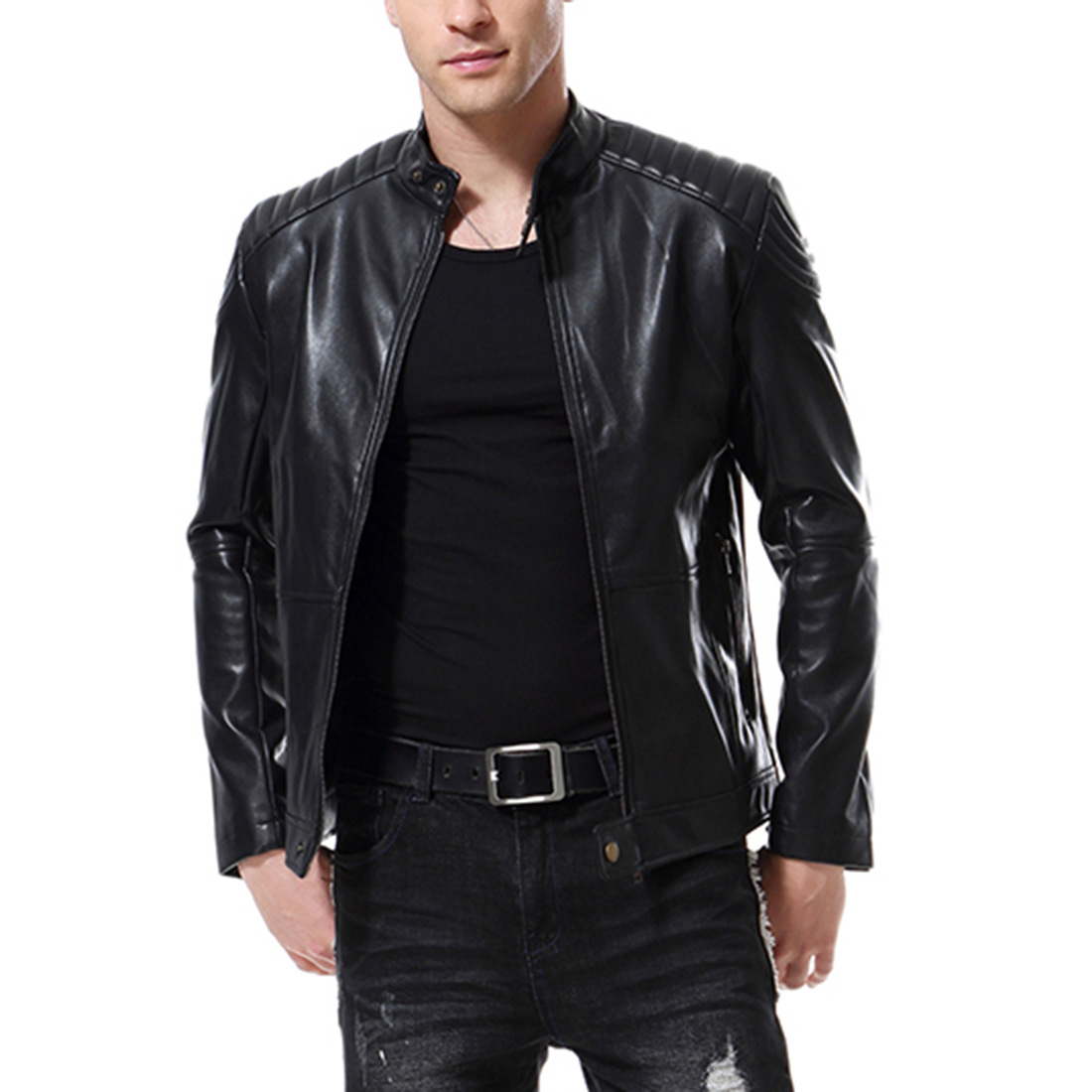Punk Style New Large Size Leather Jacket Washed Leather Motorcycle Jacket PU Stand Collar Jacket