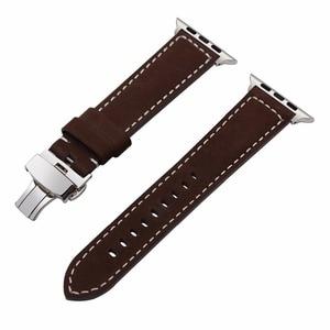 Image 5 - Italien Genuine Kalb Leder Armband für 38mm 40mm 42mm 44mm iWatch Apple Uhr SE Serie 6 5 4 3 2 1 Strap Handgelenk Band Braun
