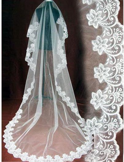 2019 One Layer Bridal Ivory Wedding Veil Laciness 3 Meters Long Veil Free Shipping