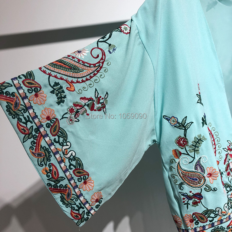 2018SS Fashion Sky Blue Floral Embroidered Kimonos V neck With Long Tassels  Hem Woman Kimono jacket-in Basic Jackets from Women s Clothing on  Aliexpress.com ... a84b535483a3