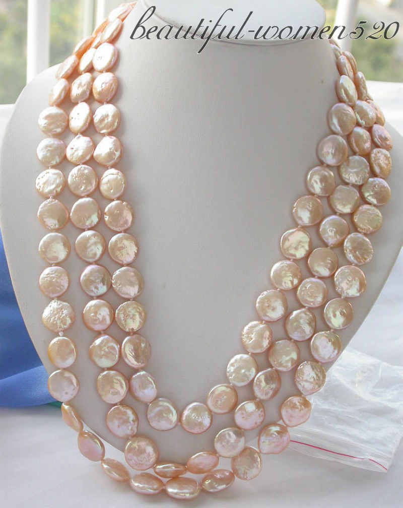 Z3402 long 70 14mm pink coin freshwater pearl necklaceZ3402 long 70 14mm pink coin freshwater pearl necklace