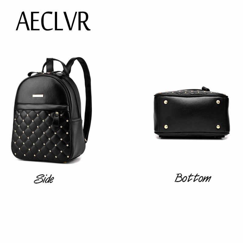 fe22b65d106 AECLVR Women Fashion Backpack Soft back Rivet School Bag Teenager Girls  backpack Casual Handle Bag Zipper Decor Students bag
