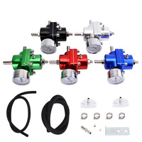 ESPEEDER Universal Aluminum Adjustable FPR Fuel Pressure Regulator Gauge Gas Hose Kit 0-140 PSI Fuel Pressure Regulator JDM