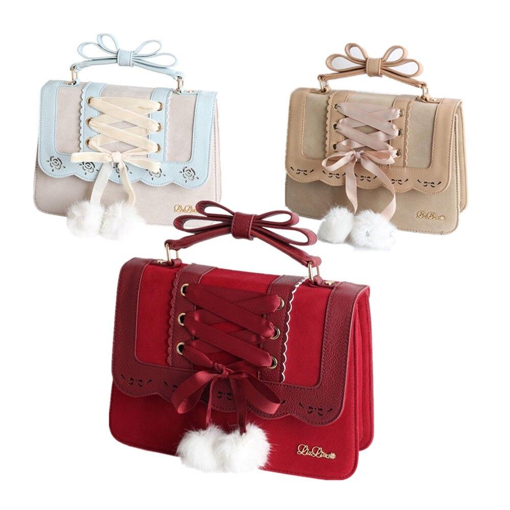 Sweet Lolita Ribbon Handbag Shoulder Bag Crossbody Messenger Bag Cosplay BagsSweet Lolita Ribbon Handbag Shoulder Bag Crossbody Messenger Bag Cosplay Bags