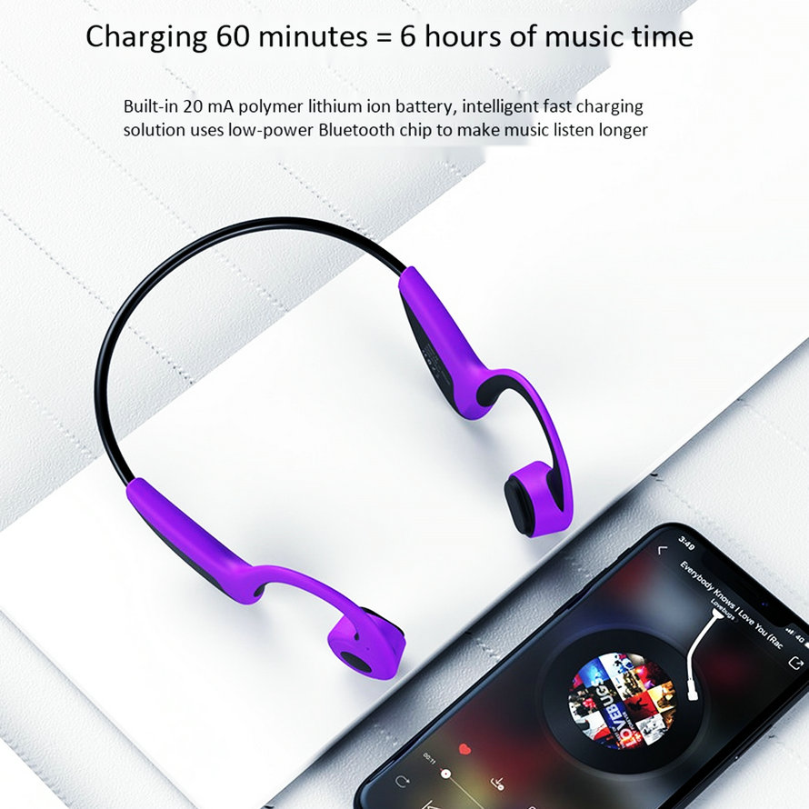 Sports Bluetooth Bone Conduction Earphones Stereo Headset NFC Wireless Headset Outdoor Hands free with Mic For Iphone X Running (5)