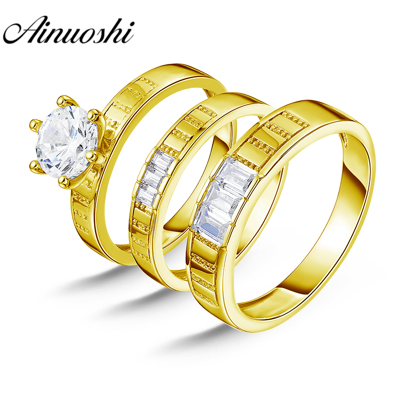 все цены на AINUOSHI 7.5g Real Gold TRIO Rings Set Engagement Jewelry 10K Yellow Gold Couple Wedding Rings Emerald Cut Band Bridal Rings Set онлайн