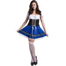 S-2XL Blue Women Beer Girl Costume Bavaria Oktoberfest Dress Maid Dirndl