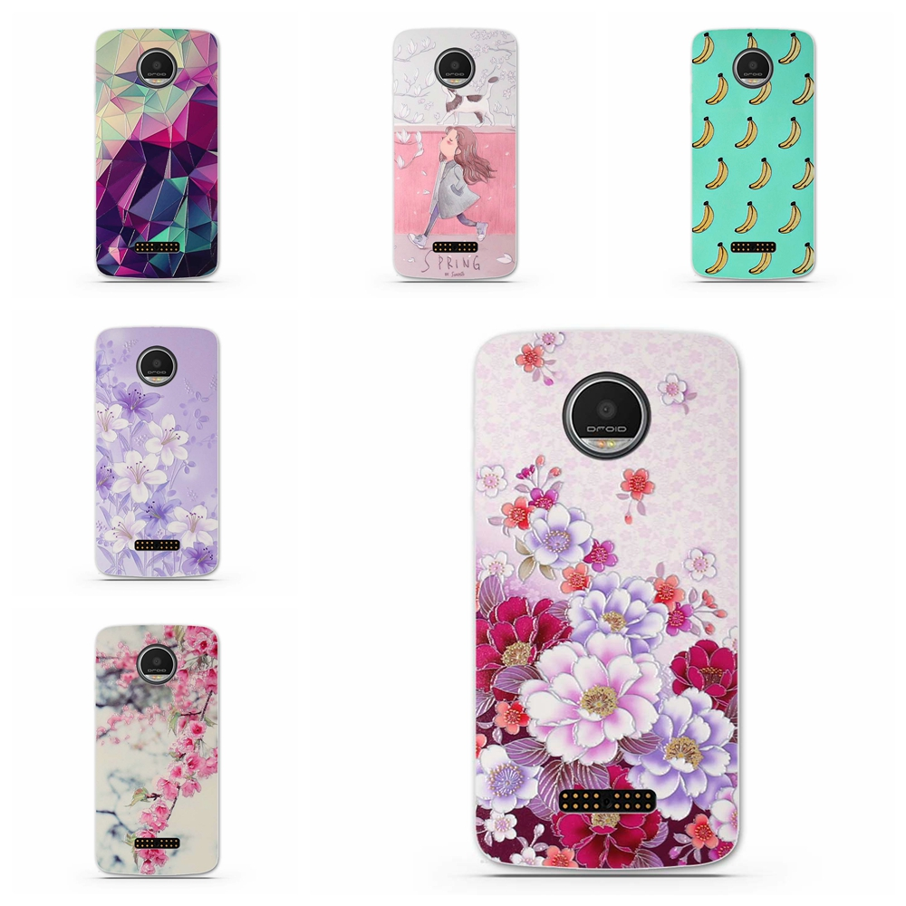 huge selection of fd859 315c2 US $1.59 |Fundas Phone Case Cover for Motorola Moto Z Force Droid Ultra  Soft TPU Flowers Animals Mobile Phone Bag Cover For Moto Z Force-in Phone  ...