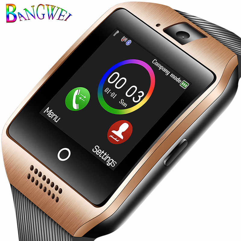 BANGWEI New Men Bluetooth Smart Watch Women sport Pedometer Clock LED Large screen color Touch Screen Support TF SIM card+Box