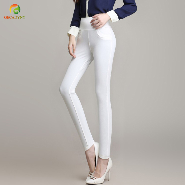 2ce130828298f Hot Sale Casual Women 95% Polyester and 5% Spandex Pants Elastic Waist  Solid Color Office OL Pants Summer Slim Lady Trousers 6XL