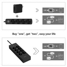 NTONPOWER Multi-Plug Power Strip EU Extension Cord Socket Surge Protector with USB Electrical Plug Energy Saver for Home&Office