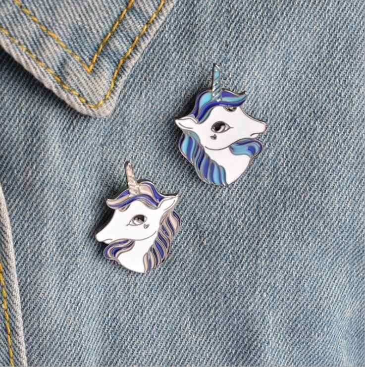 2ピースファッションユニコーンブローチピンボタン金属エナメル動物馬デニムジャケット襟バッジ用女性男性森林ジュエリーギフト