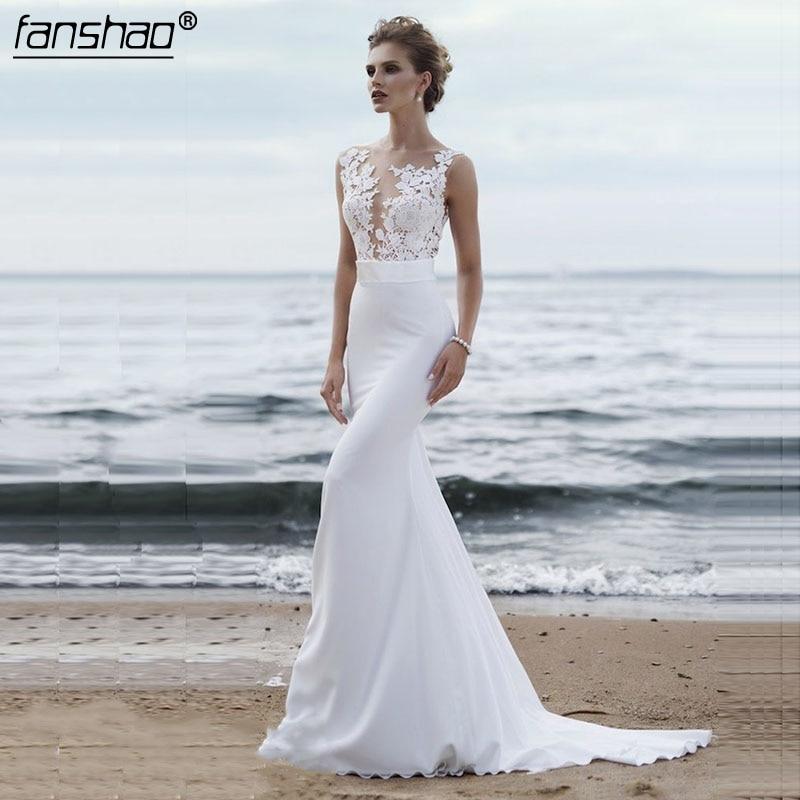 Cheap Beach Wedding Dresses 2019 Boho Mermaid Wedding GownV-Neck Backless Appliques Lace Princess Bride Dress