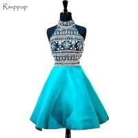 Потрясающие 8th сорт Пром Короткие Выпускные платья с высоким воротом из бисера Кристаллы спинки для вечеринки в африканском стиле Homecoming пла