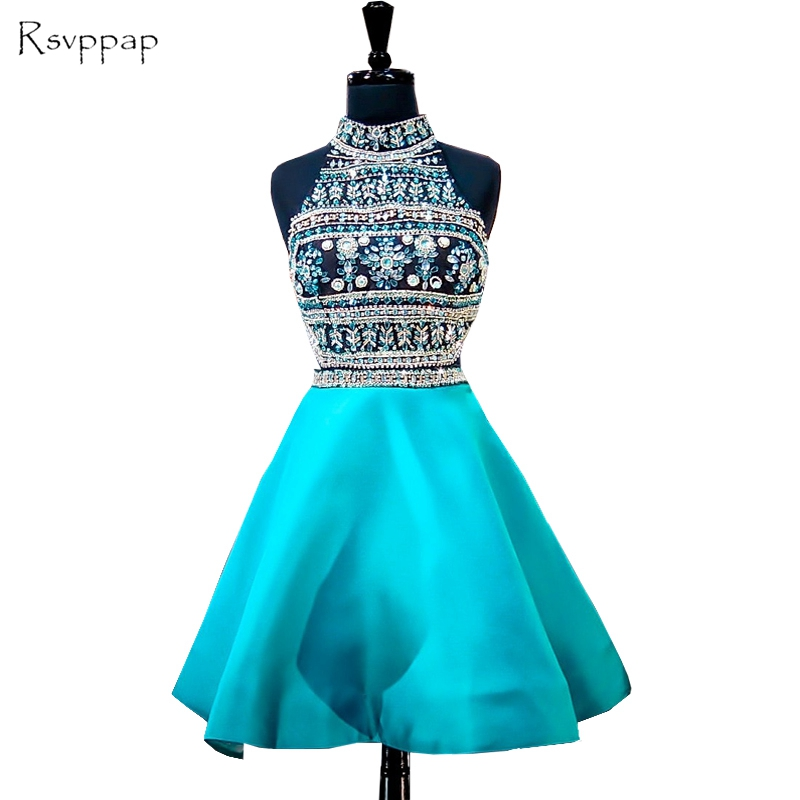 Stunning 8th Grade Prom Short Graduation Dresses High Neck Beaded Crystals Backless African Party Homecoming Dress 2019