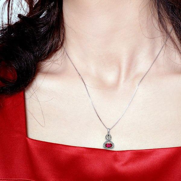 GVBORI18K белый золотой рубиновый драгоценный камень ожерелье из страз с подвеской+ цепочка из стерлингового серебра 925 пробы подвеска с бриллиантами ювелирные украшения на День святого Валентина