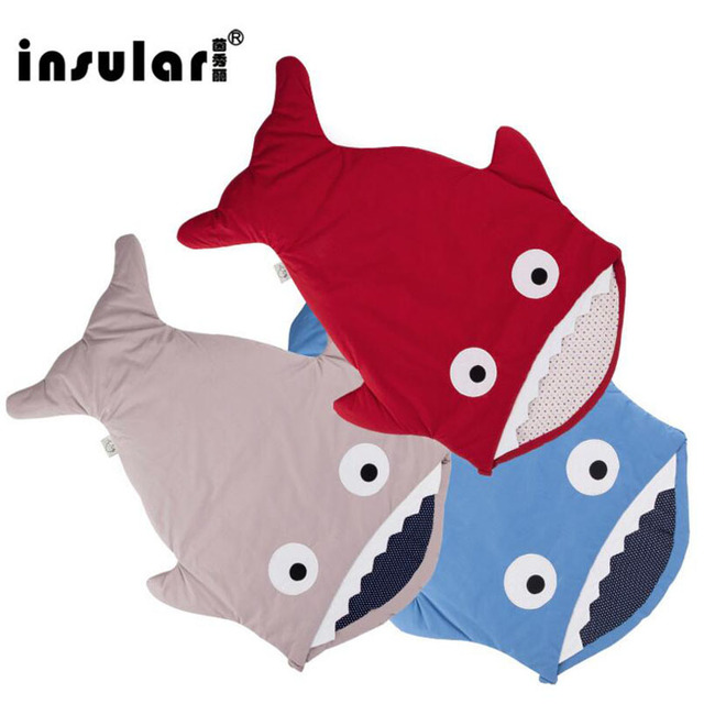Cotton Newborn Baby Shark Sleeping Bag for Stroller Winter Warm Outdoors Baby Blanket Bed Swaddle Wrap Multifunction