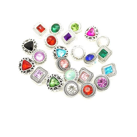Lots Various Snap Jewelry Rhinestone Round Triangle Ginger Snap Opal Druzy 12mm Snap Button Fashion DIY Snap Earrings Parts image