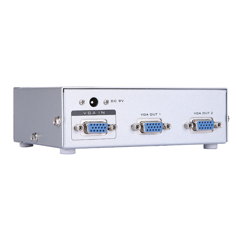 VGA Splitter 1x2 with Signal Booster High Resolution 500MHz 1 in 2 out for Big Screen LCD TV Transmission 65M image