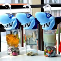 2017 Beach Shark head water bottle 800ml my copo com canudo Double layer bottles portable botle shaker botella de agua garrafas