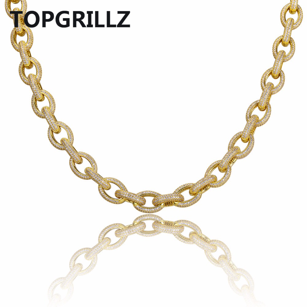 TOPGRILLZ Hip Hop Men Jewelry Necklace Copper Iced Out Gold/Silver Color Plated Micro Paved CZ Stone Necklace With 18inch 22inch