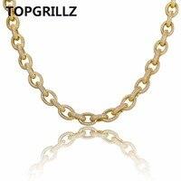 Topgrillz хип хоп Для мужчин Jewelry Цепочки и ожерелья Медь Iced Out золото/серебро Цвет покрытием микро проложили камень cz Цепочки и ожерелья с 18 дюйм