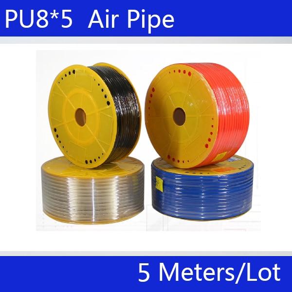 PU8*5 PU Air Hose 5M Or 3M/lot Pneumatic Hose 8mm Air Compressor Tube Blue Black Red Tube Hose For Compressor