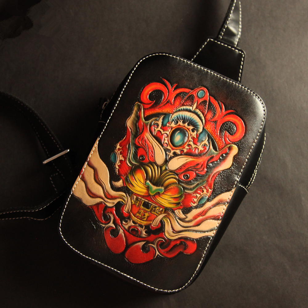 Handmade Top layer Leather Men Vegetable Tanned Leather Shoulder Bag Cowhide Hand carved Brave Troops Dragon Fish Unicorn